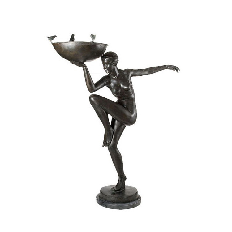 SRB89006 Bronze Art Deco Nude Lady Balance Fountain by Metropolitan Galleries Inc
