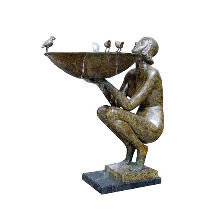 SRB89010 Bronze Art Deco Sitting Nude Lady Fountain by Metropolitan Galleries Inc