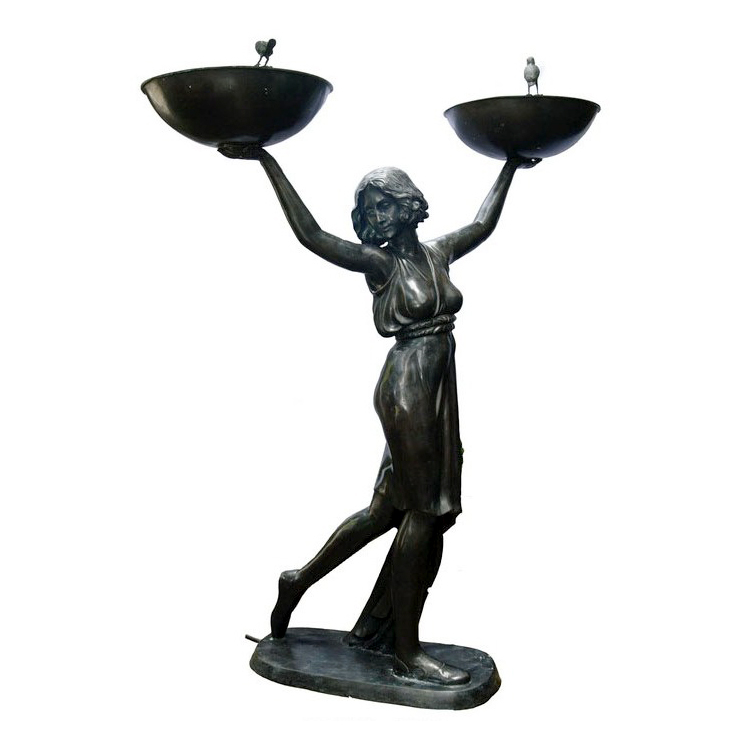 SRB89013 Bronze Art Deco Stella holding Bowls Fountain by Metropolitan Galleries Inc