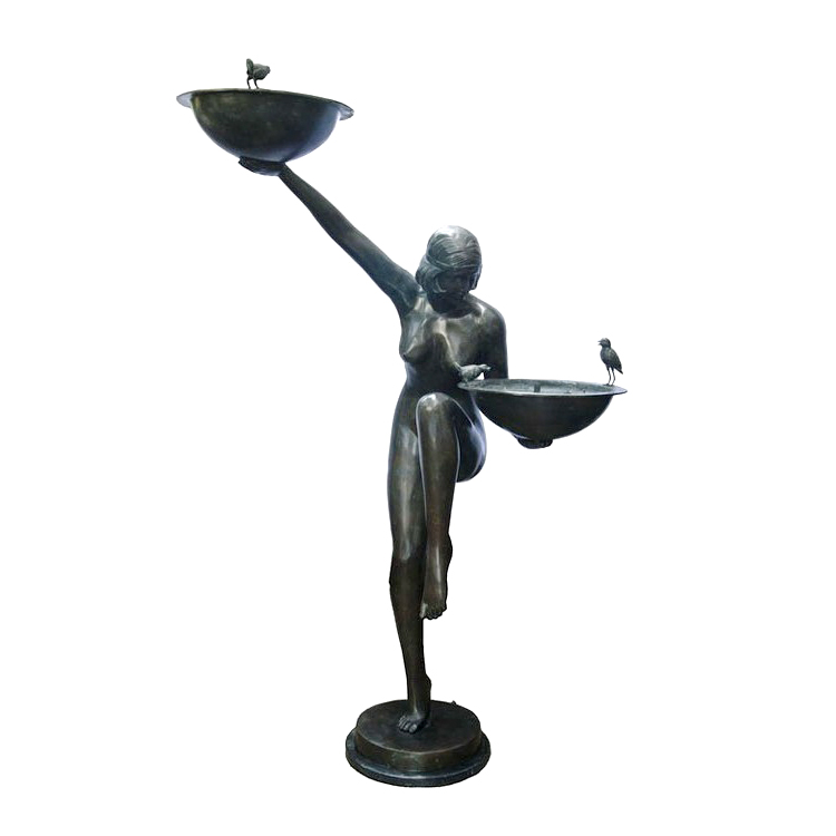SRB89014 Bronze Art Deco Nude Lady Balance Fountain by Metropolitan Galleries Inc