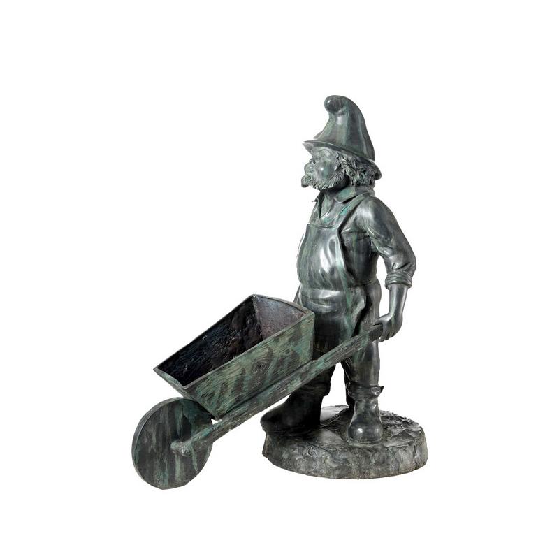 SRB96009 Bronze Leprechaun with Wheelbarrow Sculpture by Metropolitan Galleries Inc