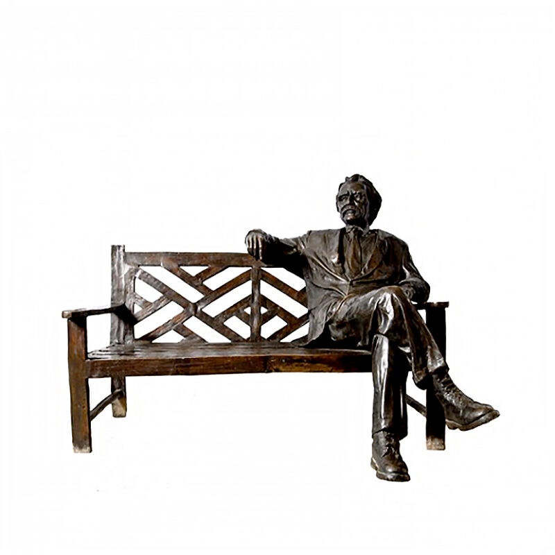 SRB96127 Bronze 'The Storyteller' Man on Bench Sculpture by Metropolitan Galleries Inc