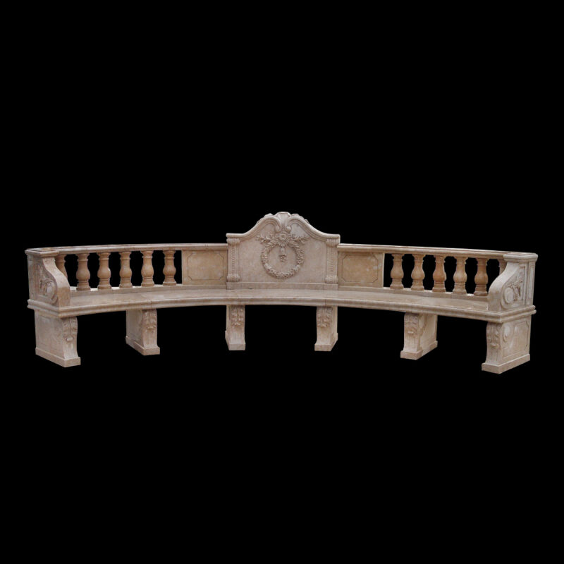 JBB011 Marble Classical Bench with Reef by Metropolitan Galleries Inc b
