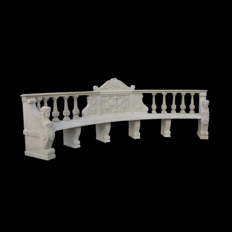 JBB014 Marble Caryatid Classical Bench by Metropolitan Galleries Inc