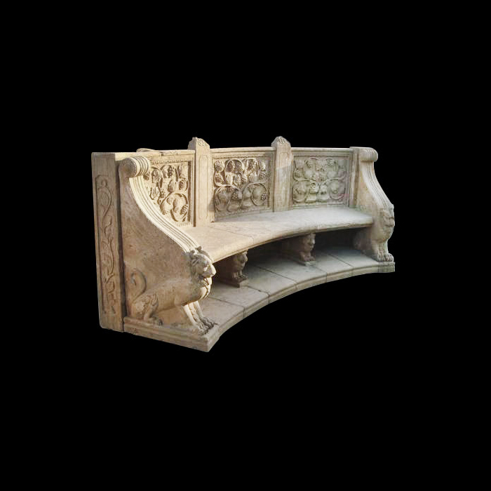 JBB240 Marble Floral Bench with Griffins by Metropolitan Galleries Inc