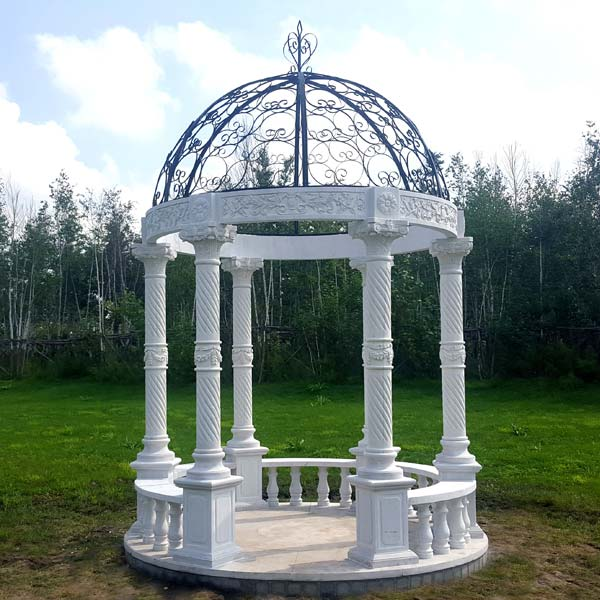 JBG005 Marble Six Column Gazebo Structure with Iron Dome by Metropolitan Galleries Inc