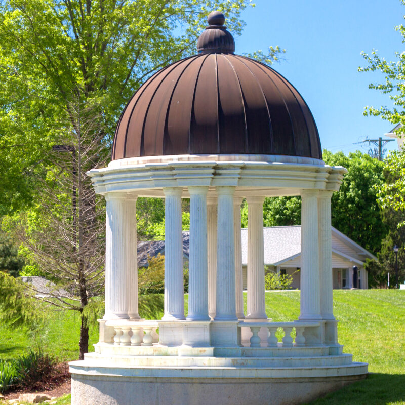 JBG600 Marble Twelve Column Pavilion Gazebo Structure with Copper Dome by Metropolitan Galleries Inc