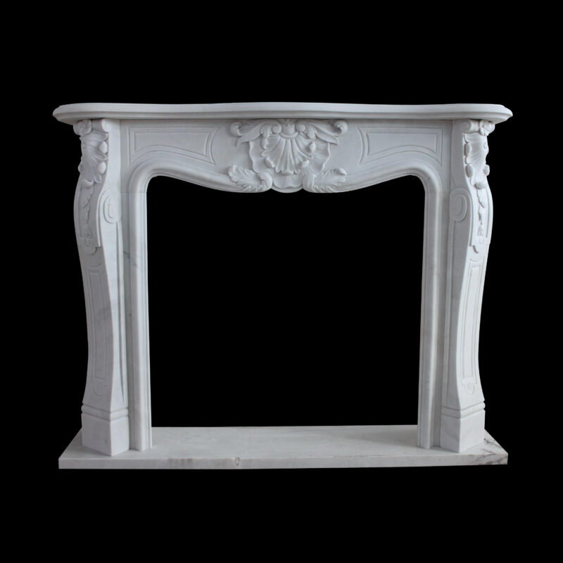 JBM332 Marble Floral FIre Place Mantle Surround in Masha White Marble by Metropolitan Galleries Inc