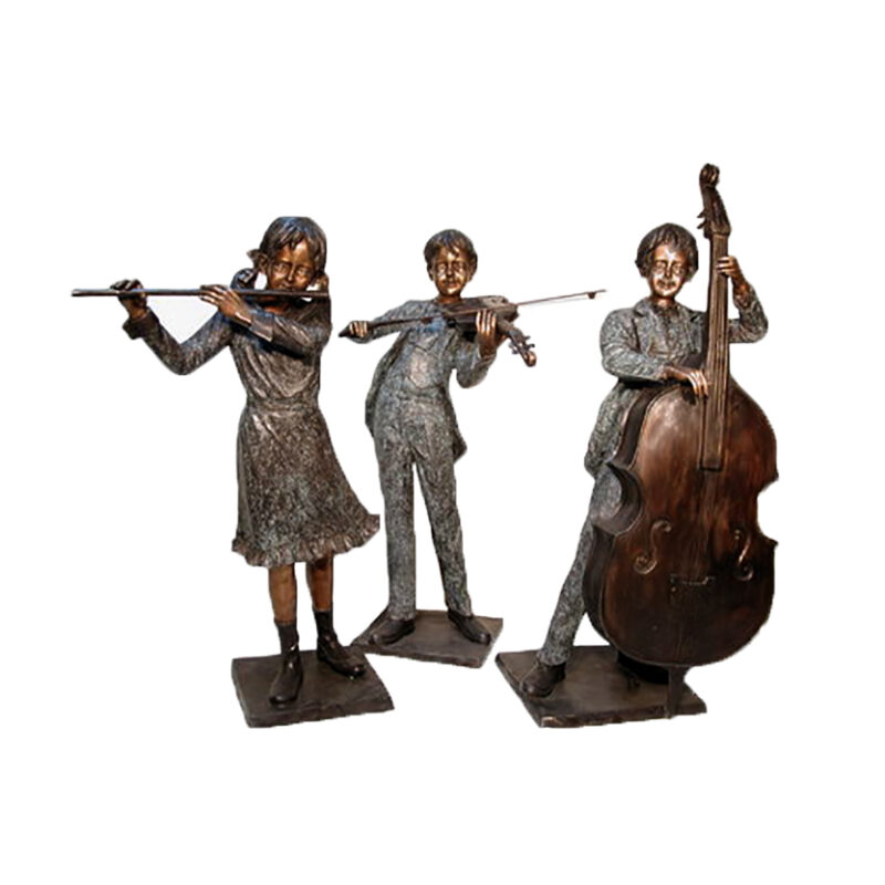 SRB074050-55-60 Bronze Musicial Children Trio Sculpture Set by Metropolitan Galleries Inc