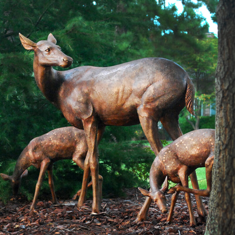 SRB10120 Bronze Doe & Two Fawns Sculpture exclusive by Metropolitan Galleries Inc