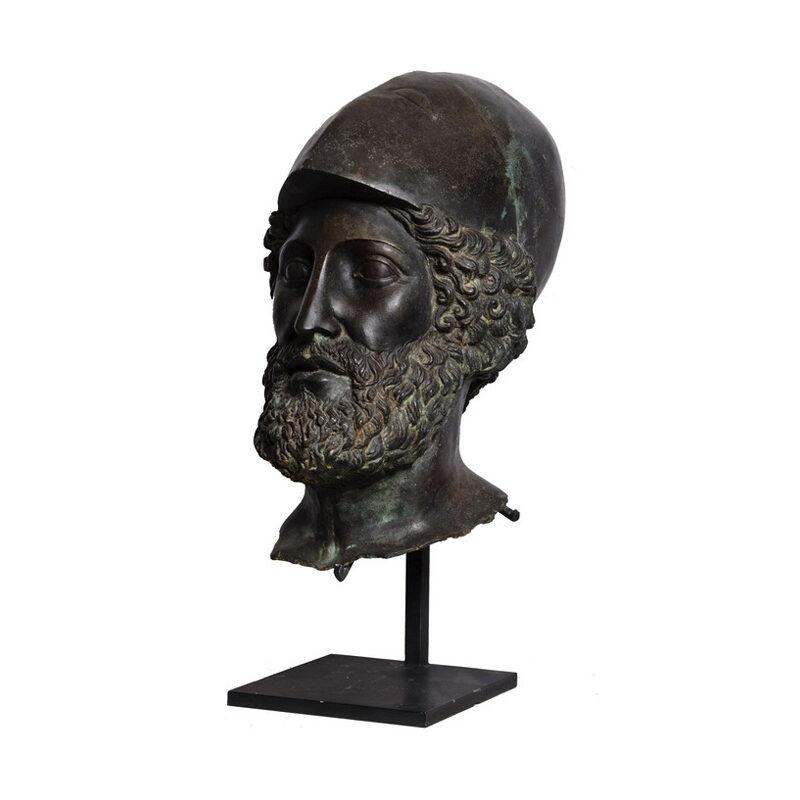 SRB53047 Bronze Roman Greco Male Head Partial Artifact Sculpture by Metropolitan Galleries Inc