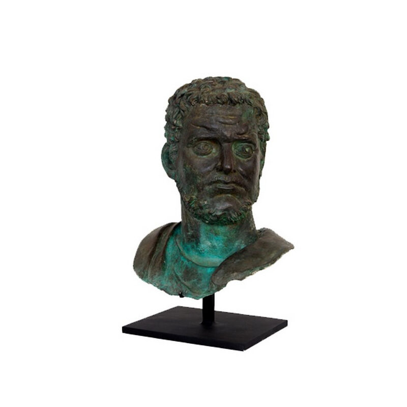 SRB53049 Bronze Male Bust Partial Artifact Sculpture by Metropolitan Galleries Inc
