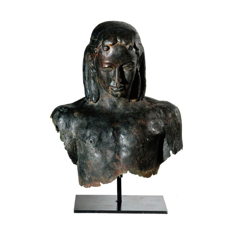 SRB53056 Bronze Male Bust Partial Artifact Sculpture by Metropolitan Galleries Inc