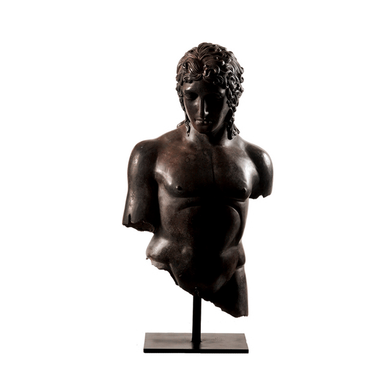 SRB53058 Bronze Roman Greco Male Bust Partial Artifact Sculpture by Metropolitan Galleries Inc