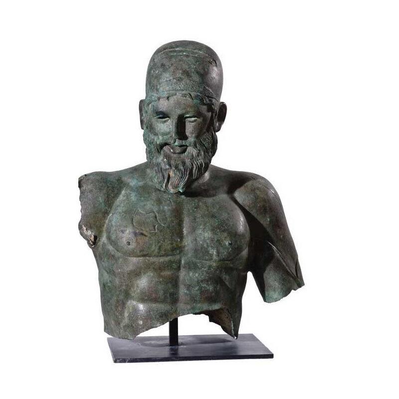 SRB53059 Bronze Roman Greco Male Bust Partial Artifact Sculpture by Metropolitan Galleries Inc