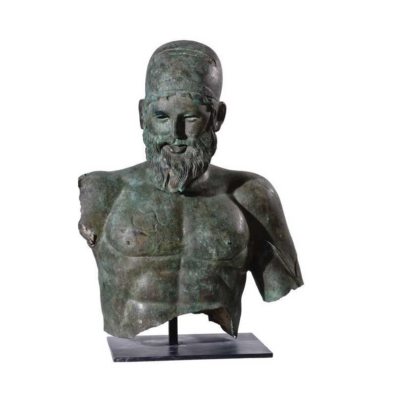 SRB53059 Bronze Roman Greco Male Bust Partial Artifact Sculpture by Metropolitan Galleries Inc