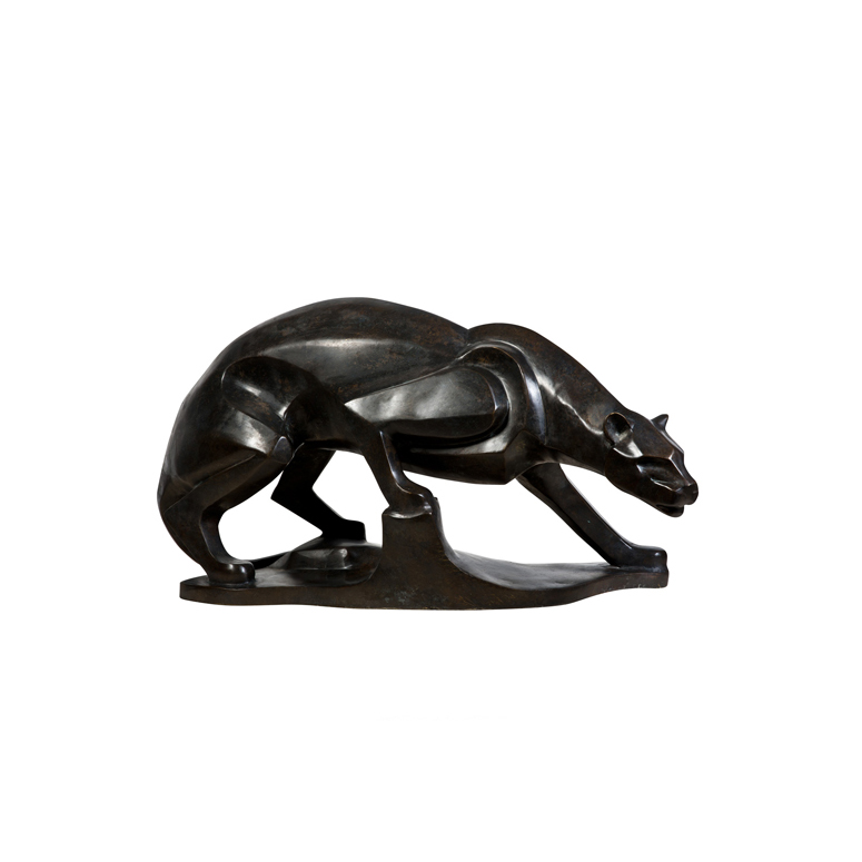 SRB60030 Bronze Contemporary Walking Panther Table Top Sculpture by Metropolitan Galleries Inc