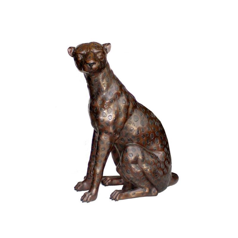 SRB701882 Bronze Sitting Leopard Sculpture Facing Left by Metropolitan Galleries Inc