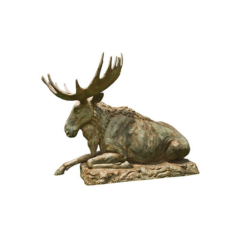 SRB703519 Bronze Sitting Moose Sculpture by Metropolitan Galleries Inc