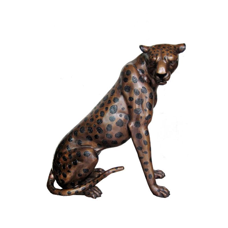 SRB703628-A Bronze Sitting Leopard Sculpture Facing Right by Metropolitan Galleries Inc