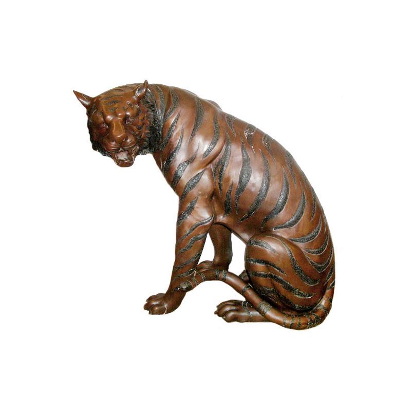 SRB703629A Bronze Sitting Tiger Sculpture by Metropolitan Galleries Inc