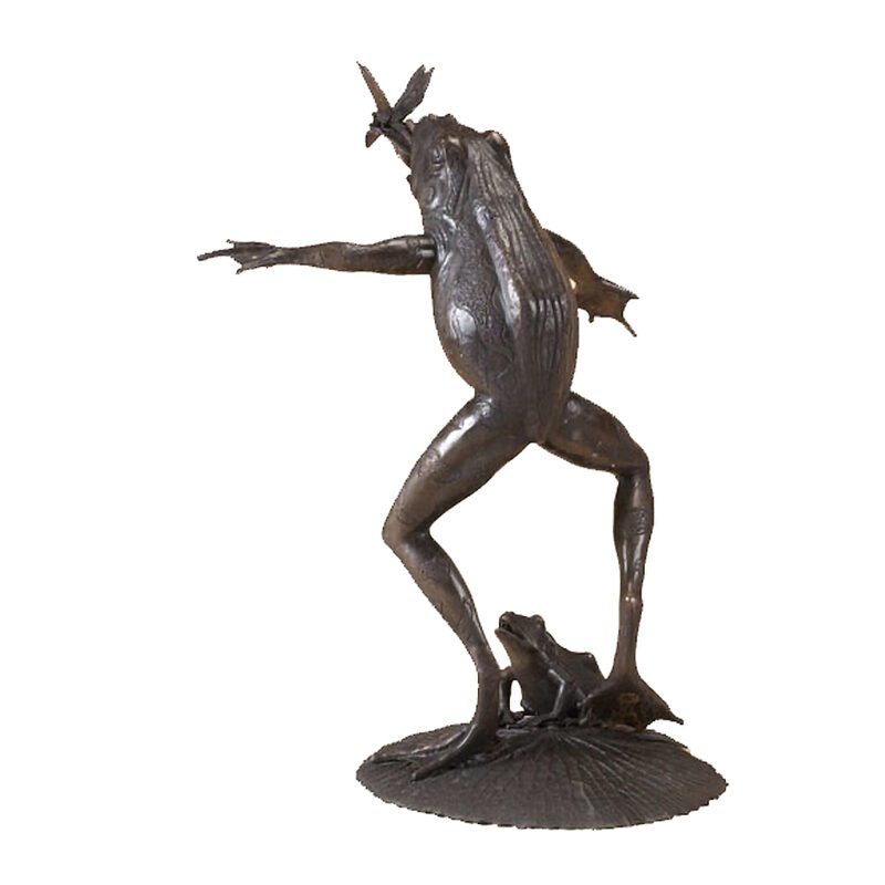 SRB704084 Bronze Frog with Dragonfly Fountain Sculpture by Metropolitan Galleries Inc