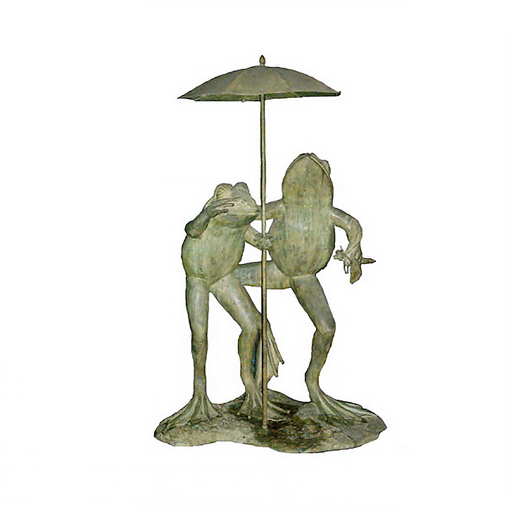 SRB704558 Bronze Frogs holding Umbrella Fountain Sculpture by Metropolitan Galleries Inc