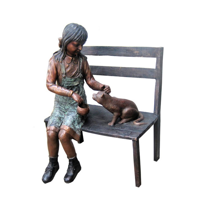 SRB706707 Bronze Girl with Cat on Bench Sculpture by Metropolitan Galleries Inc