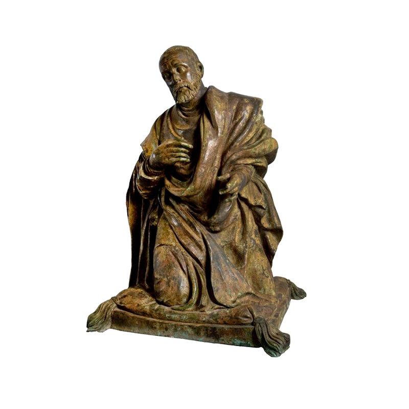 SRB87041 Bronze Saint Francis Kneeling Sculpture by Metropolitan Galleries Inc
