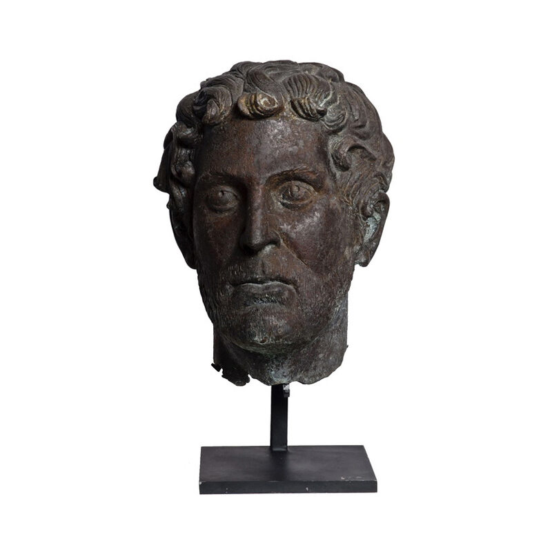 SRB910036 Bronze Male Head Partial Artifact Sculpture by Metropolitan Galleries Inc