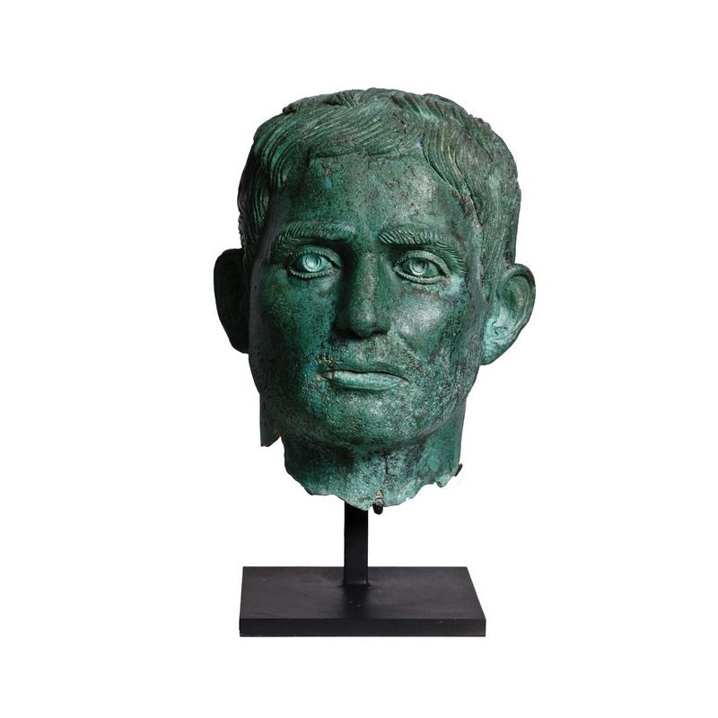 SRB910070 Bronze Male Head Partial Artifact Sculpture by Metropolitan Galleries Inc