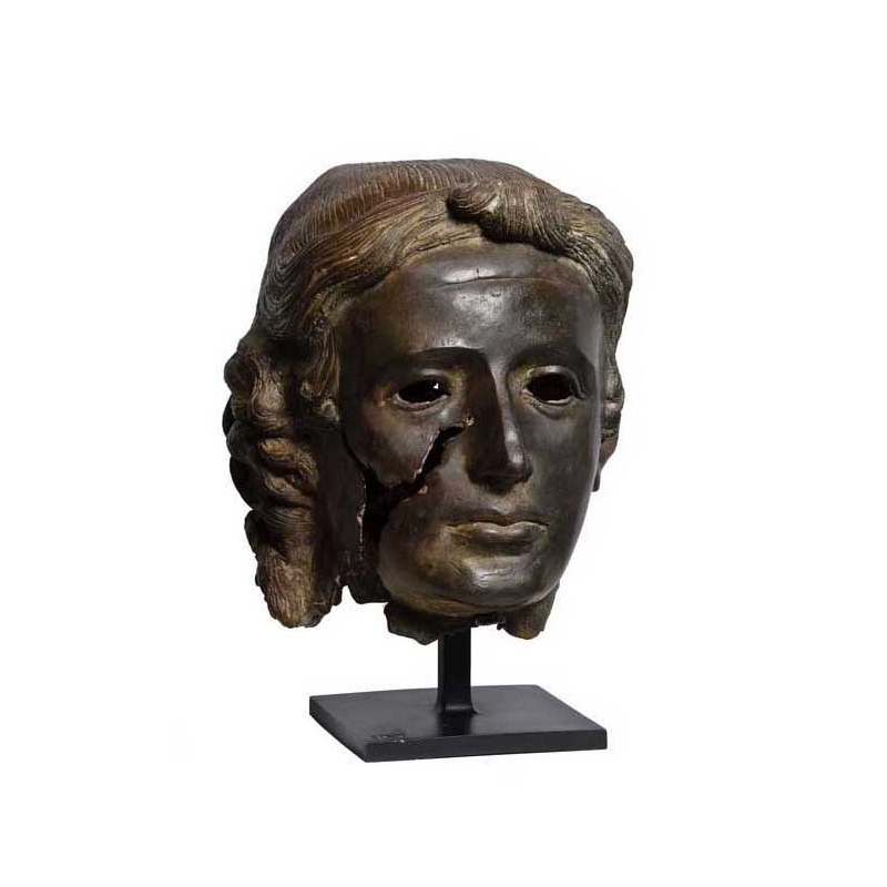 SRB910071 Bronze Male Head Partial Artifact Sculpture by Metropolitan Galleries Inc