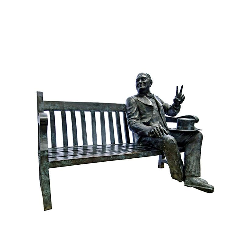 SRB96140 Bronze Churchill on Bench Sculpture by Metropolitan Galleries Inc