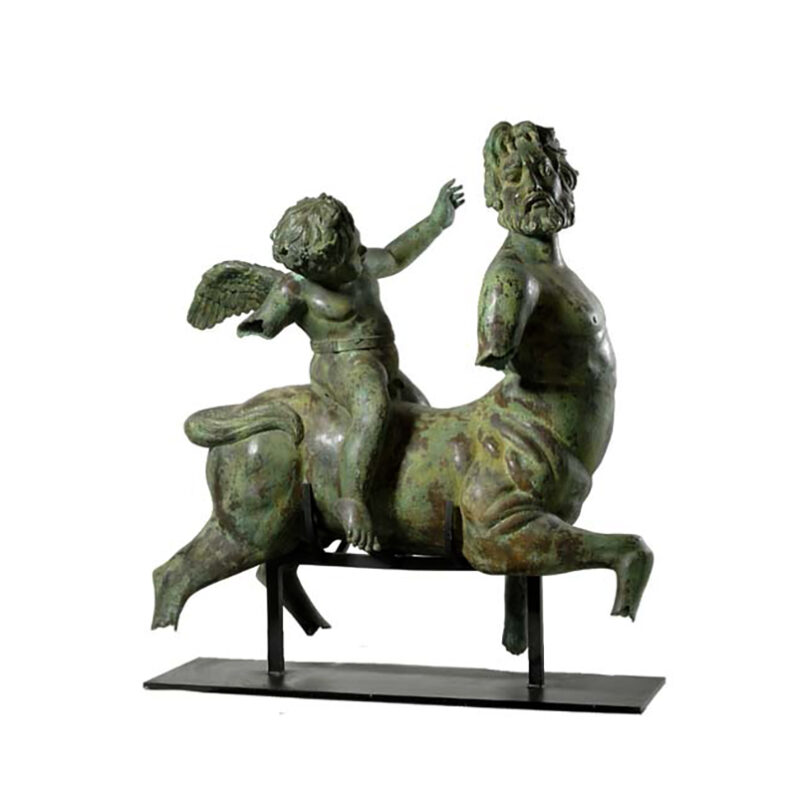 SRB97170 Bronze Cupid on Centaur Artifact Sculpture by Metropolitan Galleries Inc