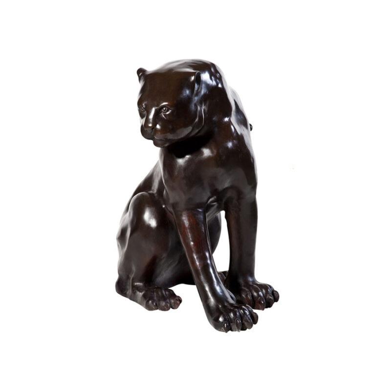 SRB990195 Bronze Sitting Leopard Sculpture by Metropolitan Galleries Inc