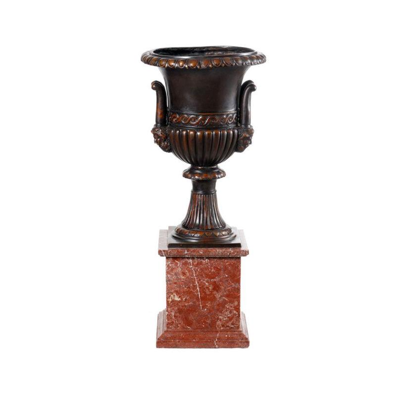 SRB99045M Bronze Tuscan Urn atop Marble Pedestal by Metropolitan Galleries Inc