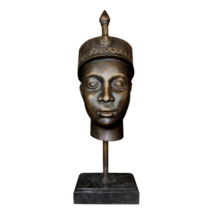 SRB990850 Bronze Nigerian Male Head Partial Artifact Sculpture by Metropolitan Galleries Inc