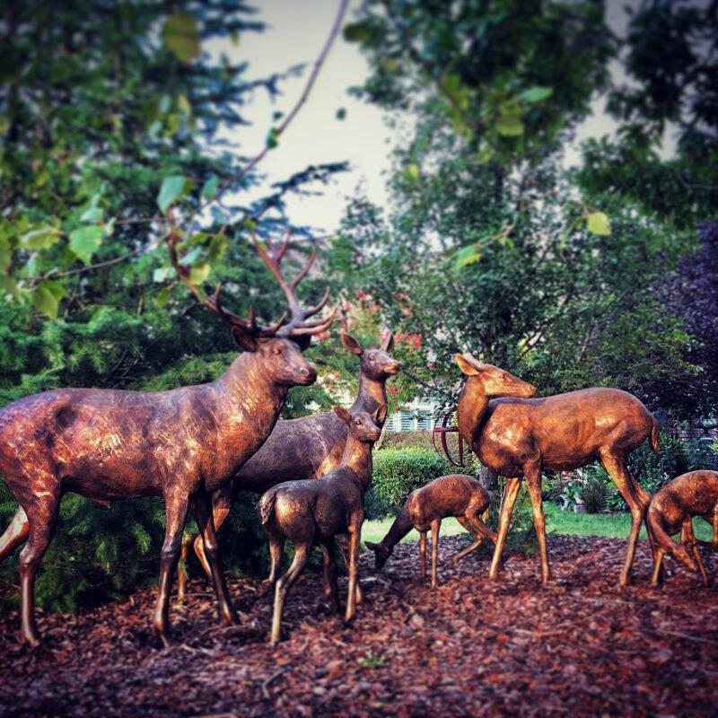 SRB10119-120 Bronze Deer Herd of Six Sculpture Set exclusive by Metropolitan Galleries Inc