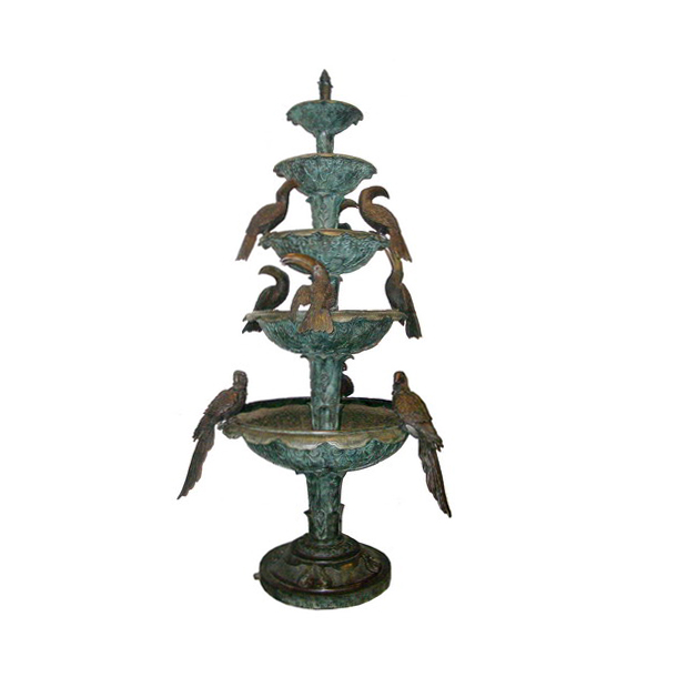 SRB703976 Bronze Five Tier Toucan Birds Fountain by Metropolitan Galleries Inc
