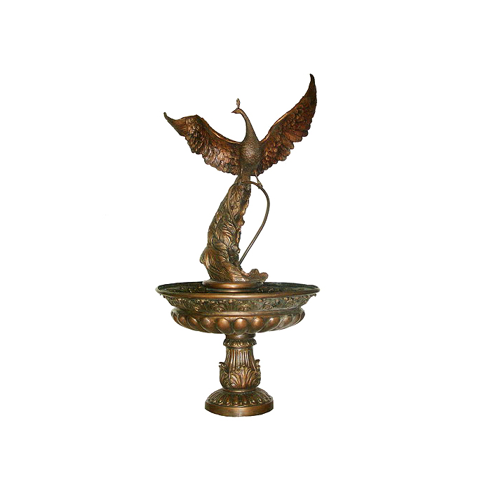 SRB706280 Bronze Peacock Bowl Fountain by Metropolitan Galleries Inc