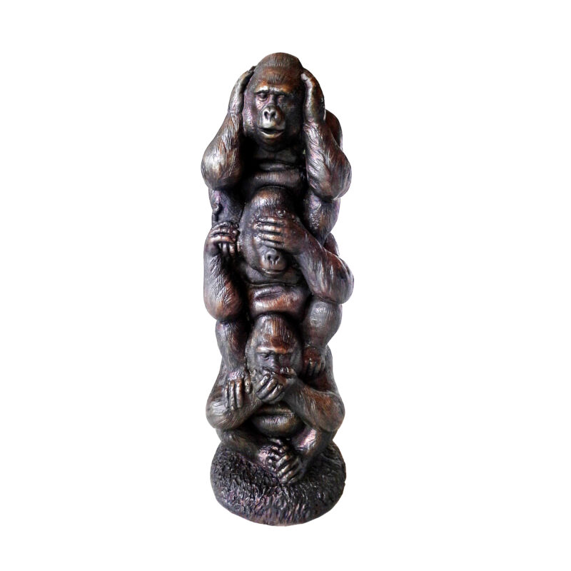 SRB706843 Bronze Three Wise Baby Gorillas Sculpture by Metropolitan Galleries Inc