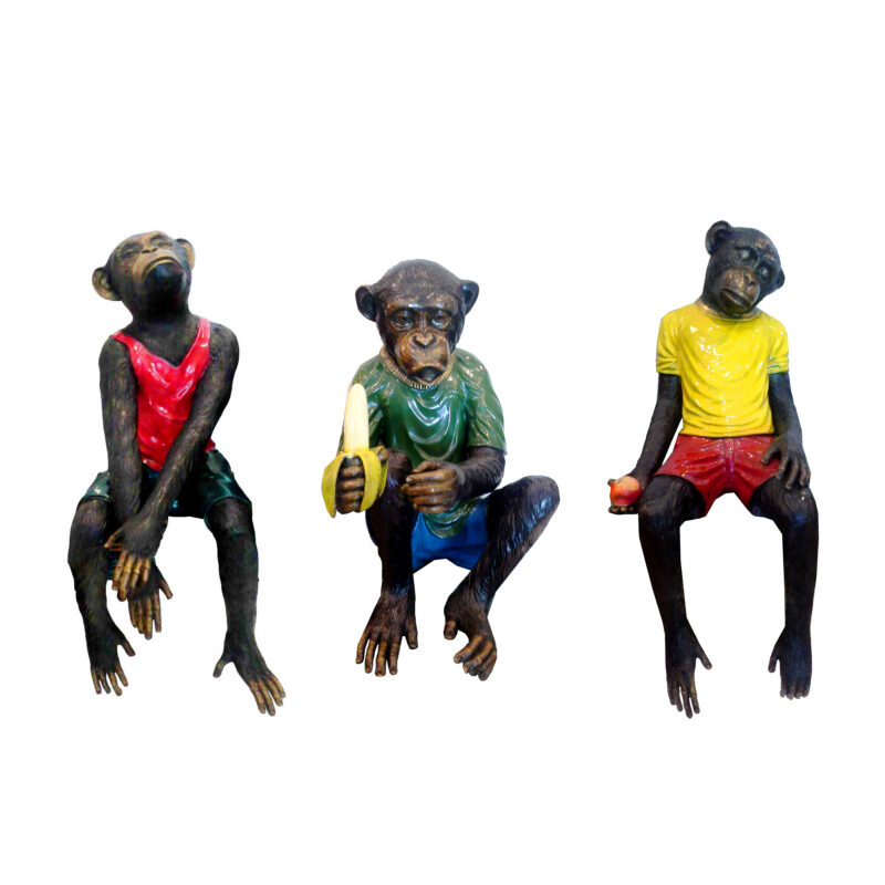SRB7077372-73-95 Bronze Monkeys in Street Clothes Sculpture Set by Metropolitan Galleries Inc
