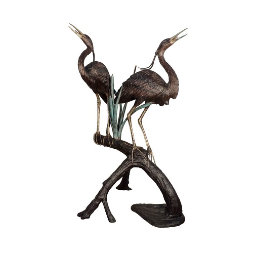 SRB022014 Bronze Two Herons on Branch Fountain Sculpture by Metropolitan Galleries Inc