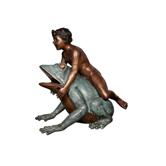 SRB022046 Bronze Boy on Frog Fountain Sculpture by Metropolitan Galleries Inc