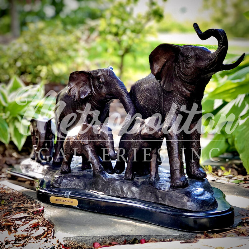 SRB028911 Bronze Elephant Family Table-top Sculpture on Black Marble Base by Metropolitan Galleries Inc Vignette