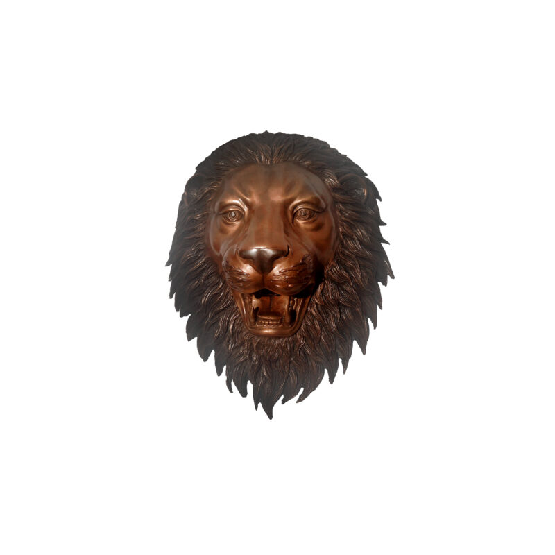 SRB47243-B Bronze Lion Face Wall Fountain Sculpture in Brown Patina by Metropolitan Galleries Inc
