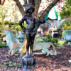 Bronze Boy with Pipes on Fish Base Fountain Sculpture