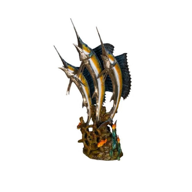 SRB022076 Three Blue Marlin Fish in Sea Fountain Sculpture by Metropolitan Galleries Inc