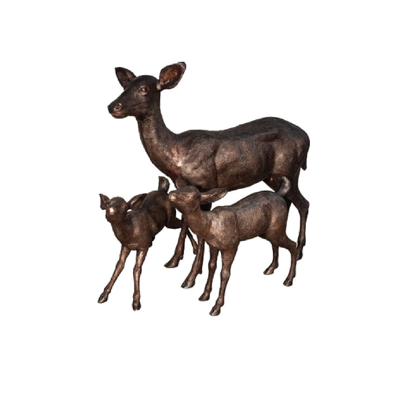 SRB047234-36-38 Bronze Doe with Two Fawns Sculpture Set by Metropolitan Galleries Inc