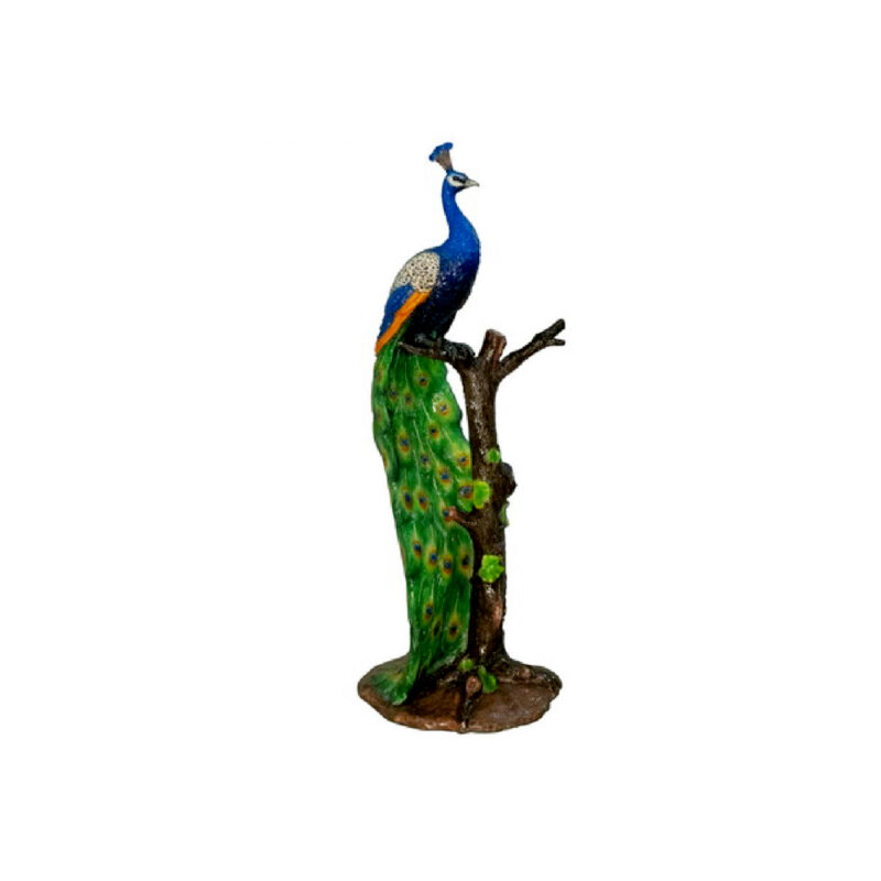 SRB047286 Bronze Colorful Peacock in Tree Sculpture by Metropolitan Galleries Inc